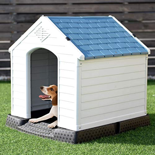 Large Dog House for Large Dogs Outside 34x33x31 Inches Plastic Durable Waterproof with Air Vents and Elevated Floor Pet House - Easy to Assemble Puppy Shelter Kennel Perfect for Outdoor Backyards
