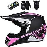Casco de motocross,Conjunto de casco integral MTB con gafas,máscara,guantes,Casco de protección para niños todoterreno para Dirt Bike MX Quad ATVEquipo de protección para motocicleta para niños, rosa
