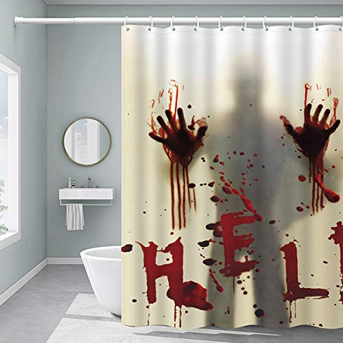FINROS Halloween Shower Curtain, Waterproof Fabric Shower Curtain 72 x 72 Inch Help Me with Bloody Hands Scary for…