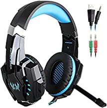 SENHAI G9000 3.5mm Game Gaming Headphone Headset Earphone Headband with Microphone LED Light for Computer Tablet Mobile Phones PS4 - Black and Blue