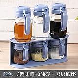 salero cocina Sazonador de cerámica Caja de condimento doble salero de vidrio...