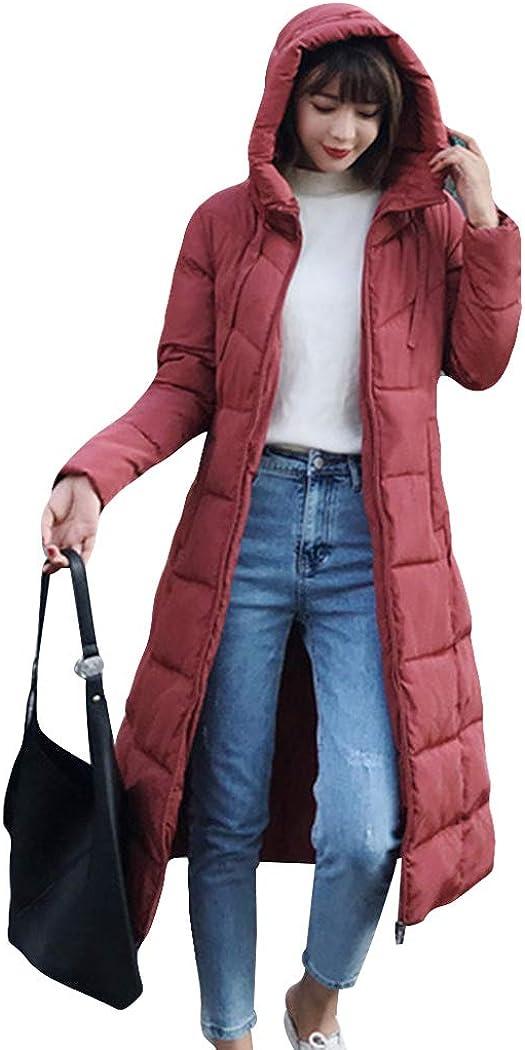 watersouprty Womens Hooded Down Padded Jacket Winter Warm Parka Outwear Long Jacket Coat with Faux Fur Hood