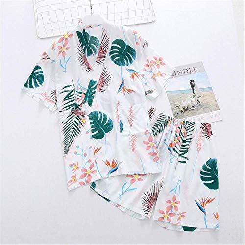 XFLOWR Sommer-Schlafanzug für Damen, Blumendruck, Kinomo-Set, Baumwolle, Nachtwäsche, kurze Ärmel + Shorts, Blätter weiß, m