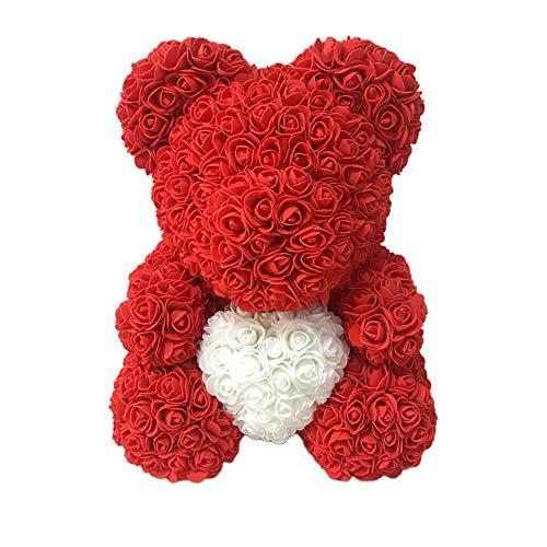 ahanzhu Oso de Rosa Artificial Flor eterna para Siempre Rosa para Aniversario Regalo de San valentín de Navidad Oso de Rosa Oso de corazón de 25 cm