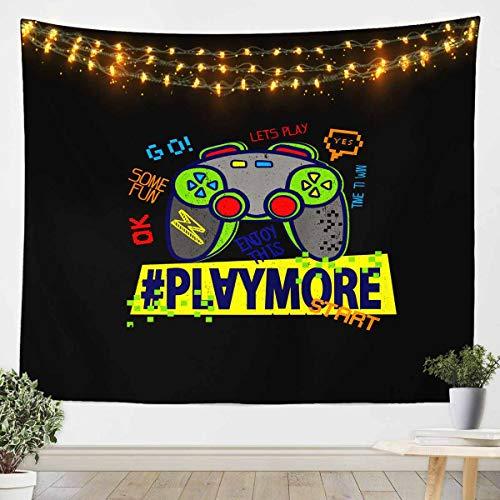 Loussiesd Tapiz de dibujos animados Gamepad para niños niños hippie estilo graffiti manta de pared gamer pared colgante decoración de habitación video juego ropa de cama manta negro grande 128 x 179