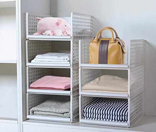 JingPeng - Set di 4 organizer impilabili per guardaroba, in plastica, organizer per armadio, con ripiani estraibili come un cassetto, perfetto per camera da letto e cucina (bianco)