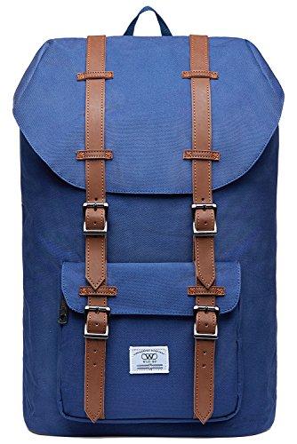 KAUKKO Laptop Rucksack Damen Herren Backpack 17 Zoll Lässiger Schulrucksack Daypacks Stylish Rucksäcke Für Wanderreise Camping 20.77 Liters (Nylon Blau 01)