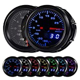 HOTSYSTEM 7 Color Turbo Boost/Vacuum Gauge Kit Pointer & LED Digital Readouts 2-1/16' 52mm Black Dial for Car Truck