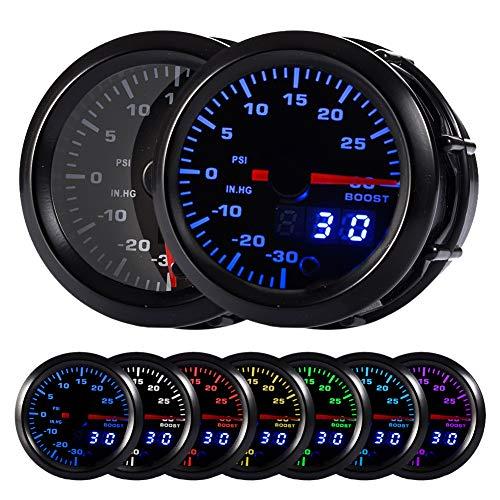 "HOTSYSTEM 7 Color Turbo Boost/Vacuum Gauge Kit Pointer & LED Digital Readouts 2-1/16"" 52mm Black Dial for Car Truck"