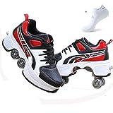 ZCXBHD Zapatos Multiusos 2 En 1 Botas Ajustables para Patines De Cuatro Ruedas Zapatos para Caminar Adecuados para Patinar Fiestas Niños Adultos,Red-38