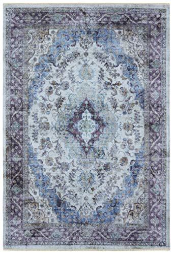 Nouristan Orientalischer Design Teppich Keshan Sami mit Fransen Farah (120 x 170 cm, 80% Baumwolle, 20% PE Chenille, Pflegeleicht, Fußbodenheizung geeignet), Ozeanblau, 120x170 cm