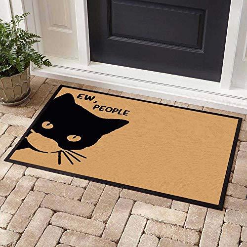 Ew People, Funny Black Cat Facemask Welcome Mat, Funny Doormat, Cat Lovers Gift, Quarantine Doormat, Housewarming Gift, Non Slip Backing