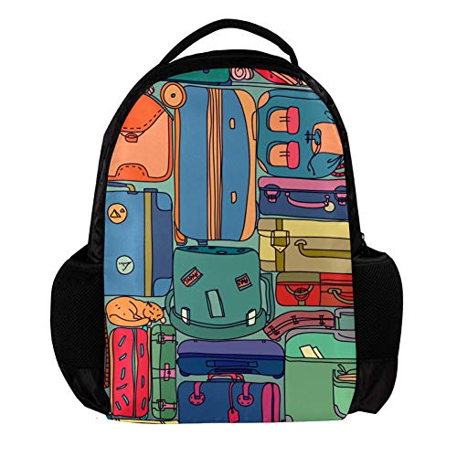 TIZORAX Vintage Reizen Koffers Met Stickers School Rugzak Rugzak College Bookbag Reizen Laptop Daypack Tas voor Mannen Vrouwen