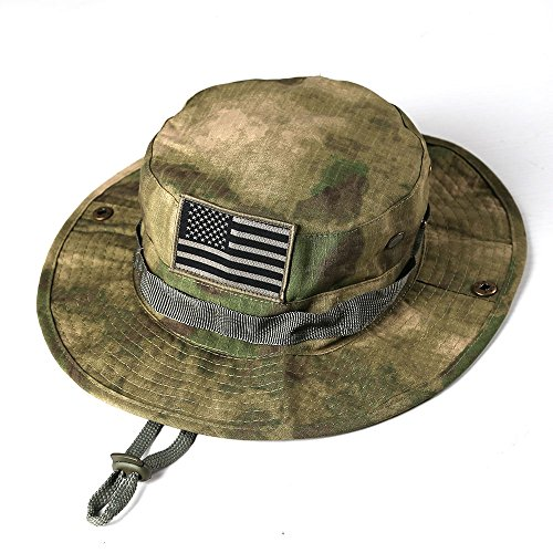 massmall Military Tactical Head Wear/Boonie Hat Cap with USA Patch for Wargame,Sports,Fishing &Outdoor Activties Multicam Green