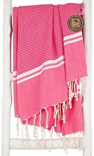 ZusenZomer Fouta | Toalla hammam 'Sousse' | Toalla de baño Liviana |100x190 cm | 100% algodón diseño Exclusivo (Rosa)