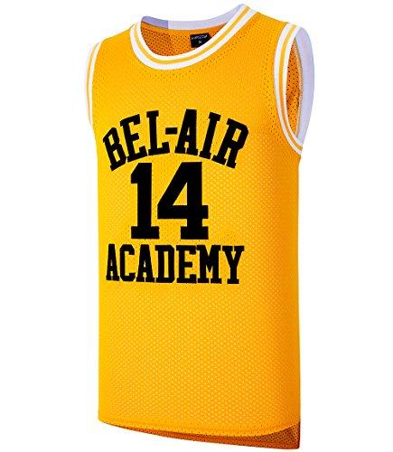 JOLI SPORT Will Smith #14 Jersey The Fresh Prince of Bel Air Basketball Jersey Mens Basketball Jersey S-XXXL(Yellow,M)