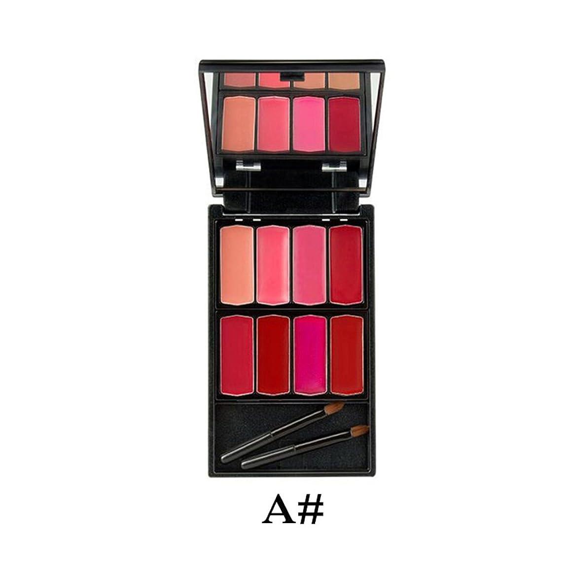 ブレーク教える日食DYNWAVE 8色 口紅クリーム 化粧パレット リップスティック 化粧リップ/アイシャドー ミラー ブラシ付 - #1