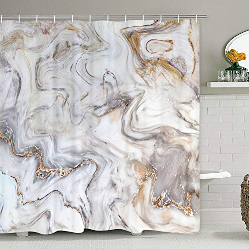 TAMOC Marble Shower Curtain, Grey Gold White Shower Curtain with 12 Hooks, Marble Texture Shower Curtains for Bathroom, Waterproof Fabric Abstract Art Bath Curtain