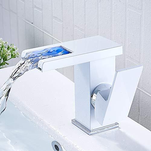 Rubinetto bagno Lavabo Cascata Miscelatore LED bagno Miscelatore Monocomando Lavabo per doccia (bianco)