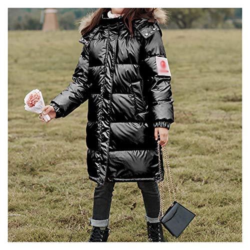 SKK Warme Kleidung Mädchen Parkas Puffer Daunenmantel Warme Outwear Winter Verdicken Zip Manteljacke mit Faux Pelz Trim Hood Universal (Color : Black, Größe : Medium)