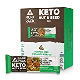 Munk Pack Pumpkin Seed Cinnamon Almond Keto Nut & Seed Bars with 0g Sugar, 2g Net Carbs | Keto Snacks | No Sugar | Plant Based | Gluten Free, Soy Free | 12 Pack
