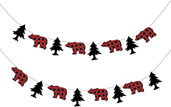 CC HOME Buffalo Plaid Party Supplies Lumberjack Party Decorations ,Buffalo Plaid Birthday Banner Decoration ,Buffalo Plaid Bear & Tree Pattern Lumberjack Garland Flag,Buffalo Plaid Garland Bunting Banner for Kids ,Boys,Girls ,Outdoor Activities ,Woodland ,Camping ,Birthday Party,Baby Show Party Decoration Supplier