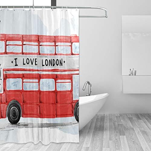 FANTAZIO Duschvorhang London Bus Aquarell Polyester Badvorhang mit dicken C-förmigen Haken für Badezimmer Wasserdicht langlebig & super wasserdicht 182,9 x 182,9 cm