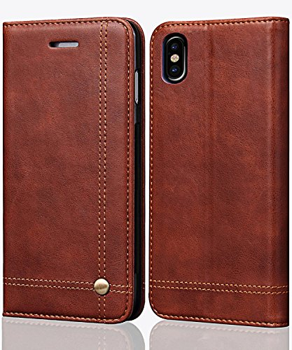 FLYEE iPhone Xs Max Case,iPhone Xs Max Wallet Case, Ultra Thin Slim Cover PU Leather Magnetic Protective Cover with Credit Card Slots, Cash Pocket,Stand Holder for iPhone Xs Max 6.5 inch Brown