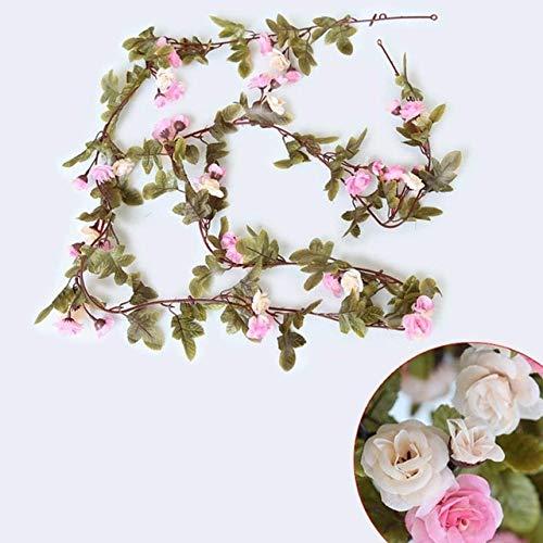 OSALAD 230 Cm / 91 Pulgadas Decoraciones De Boda De Rosas De Seda Ivy Vine Flores Artificiales Decoración De Arco De Pared con Guirnalda Colgante De Hojas Verdes
