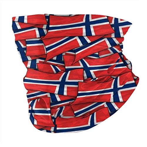 Bandera de Noruega Wave Collage Summer BandaFace Cover - Pasamontañas Bufanda Polvo Sol Protección UV Pesca Cuello Polaina - Para Hombres Y Mujeres Negro