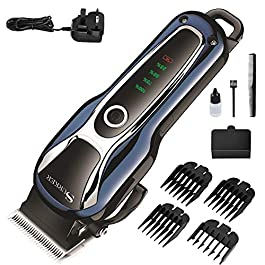 Cordless Hair Clippers Men Set, Professional Hair Clipper Beard Shaver, with Precision Engineered Steel Blades,24 Cutting Grades, for Men,Kids and Family Use(1800mAh Charging 2.5h, Running 120min)