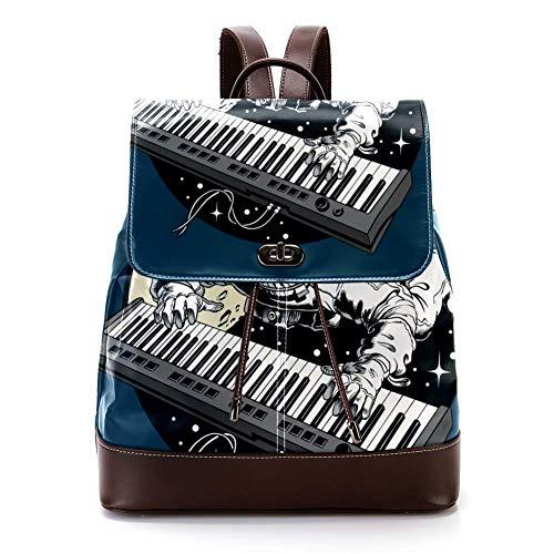 Lässiger PU-Leder-Rucksack für Herren, Damen Schultertasche Studenten Tagesrucksack für Reisen Business College Piano Synthesizer
