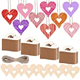eZAKKA Heart Wood Slices, 100 Pieces Heart Wooden Embellishments Ornament Hollow Hanging Crafts Gift Tags with Twine for DIY Wedding Valentine's Day