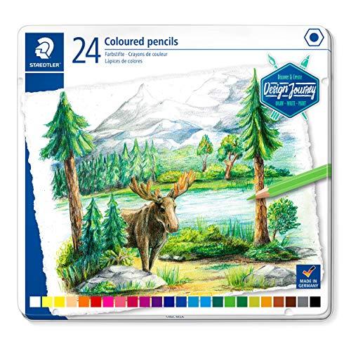 Staedtler Crayons de couleur de haute qualité pour artistes, Mine douce et tendre de 3 mm, Boîte en métal avec 24 couleurs différentes assorties, 146C M24