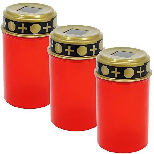 com-four® 3X LED Grablicht mit Solar - LED Grabkerze Ewiges Licht in rot - Solar Grableuchte mit Dämmerungssensor (03 Stück - solarbetrieben)
