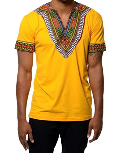 Men's Short Sleeve Casual Dashiki Style T-Shirt African Blouse Tops (US-S, Yellow)