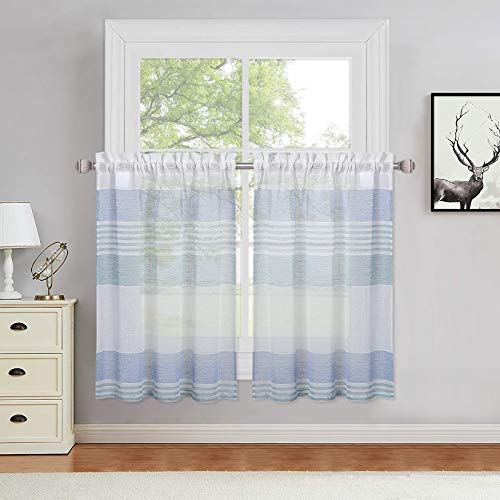 Haperlare Aqua and Blue Sheer Cafe Curtains 36 Inches Length, Yarn Dyed Splicing Striped Yarn Dyed Tier Curtains for Kitchen Farmhouse Boucle Linen Textured Bathroom Window Curtains, Set of 2