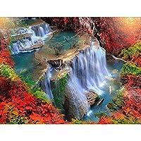 フルスクエアダイヤモンド絵画5Dモザイクアート風景滝刺繡キット販売クロスステッチ家の装飾絵画