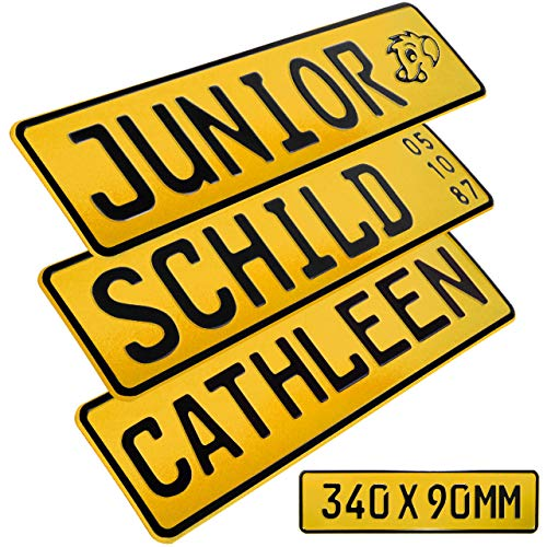 1 Stück Kennzeichen Junior-Schild 34cm x 9cm Bohrung Farbwahl Wunschtext Wunschprägung Muster Datum Namenskennzeichen Bohrung / Saugnäpfen Namensschild Bobbycar Kettcar FUN Schild in Gelb