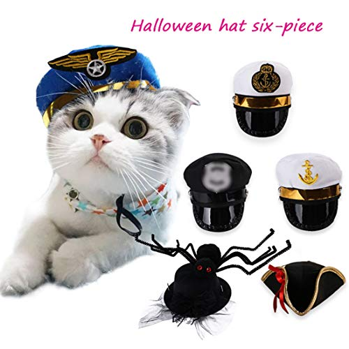 GLZKA Halloween-Haustier-Hut-lustige Kopfbedeckungs-Festival-Partei-Dekorations-Versorgungsmaterialien Schwarzer Hut-Seemann-Kapitän Pilot Spider Pirate Six Pieces