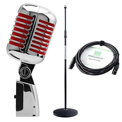 Set de Micrófono Elvis Pronomic DM-66S dinámico en rojo