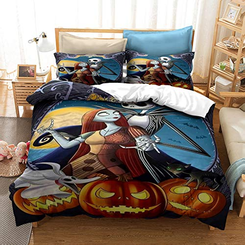 GNZY Microfiber 3D Duvet Set The Nightmare Before Christmas Anime Children's Bed Linen Set Bedding Set Double Bed Quilt Cover+Pillowcase*2(Various Sizes),AU Double