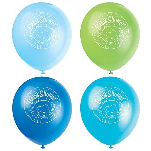 Unique Party Lot de 8 Ballons en Latex pour fête prénatale Motif Singe 30,5 cm