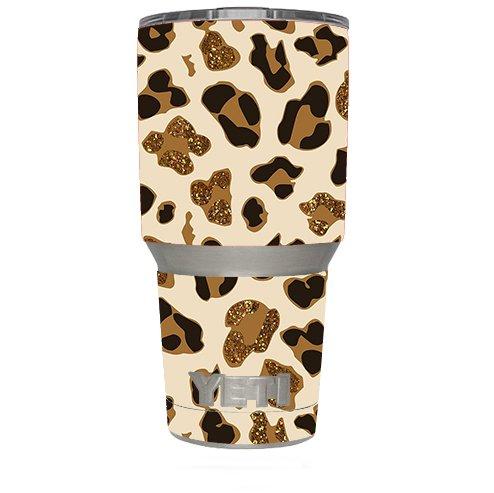 Skin Decal Vinyl Wrap for Yeti 30 oz oz Tumbler Cup (6-piece kit) / Leopard Print Glitter Print (not real glitter)