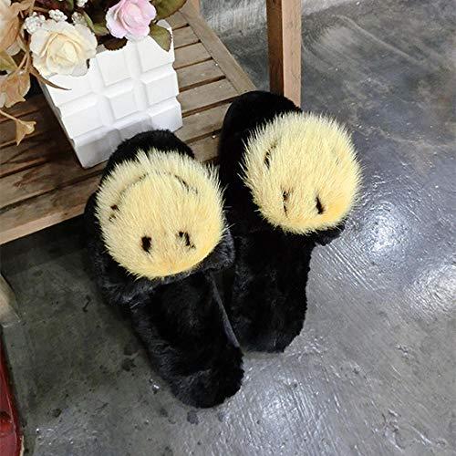 Memory Foam Zapatillas De Casa para Mujer,Pantuflas De Piel De VisóN con Cara Sonriente, Pantuflas De Lana SintéTica De Panda De Huevo Frito, Chanclas Negras De Piel De Fondo Plano para Mujer-B_39-40