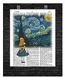 Alice im Wunderland in Van Gogh's Sternennacht Wörterbuch-Kunstdruck, 20,3 x 25,4 cm