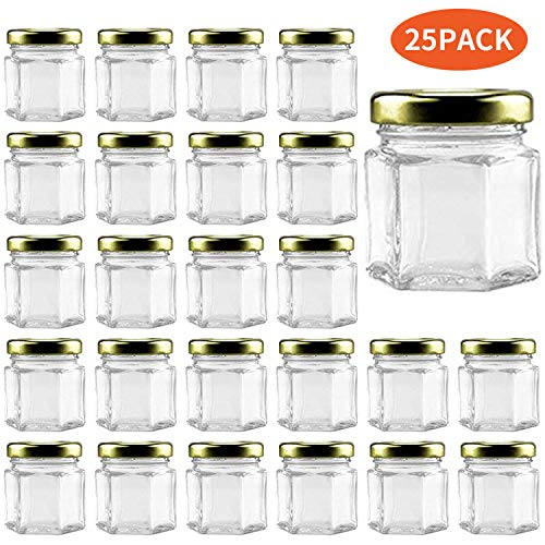 Woaiwo-q 1.5oz Hexagon Glass Jars 25 Pack (25, 1.5oz)