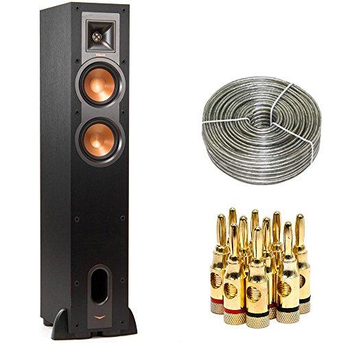 Klipsch R-24F Dual 4.5-inch Floorstanding Speaker (1060674) with 100 ft Heavy Duty Speaker Wire & Brass Speaker Banana Plugs, 5-Pair, Open Screw Type
