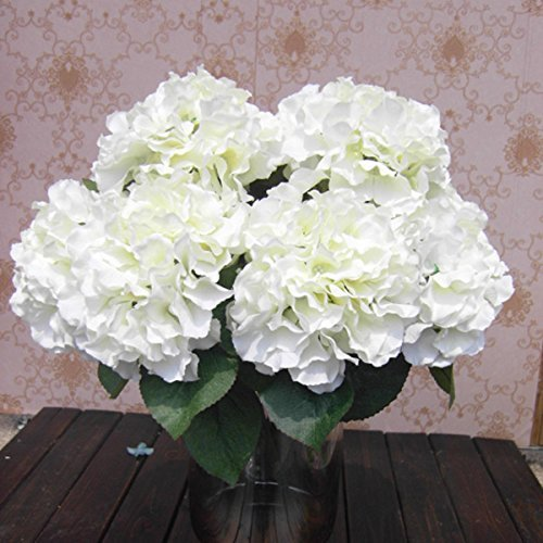 Ppower 5-Köpfe künstliche Hortensie Seide Blume Blumenstrauß Hochzeit Dekor (Weiß)