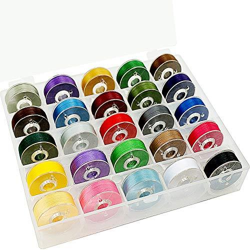 New brothread 25pcs Tipo L Tamaño (SA155) Colores Variados hilo de la canilla preenrollado Lado de plástico para máquinas de bordar y coser especificadas - 60wt